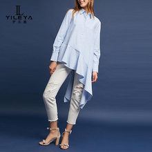 Latest fashion long top design girls,linen tops for women,long sleeve ladies blouses and tops 2017
