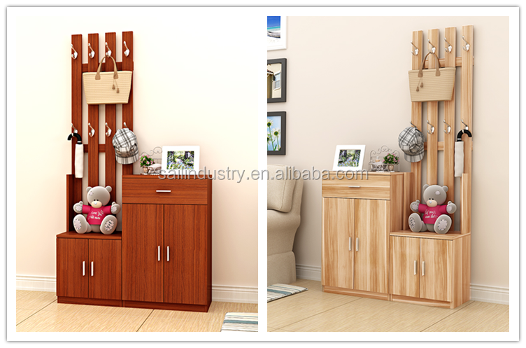 convenient wooden shoe rack with hallstand
