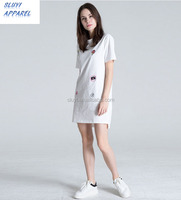 Ladies interesting printed pure color Shirt dress,paillette adornment crossover o-neck shirt simple dress
