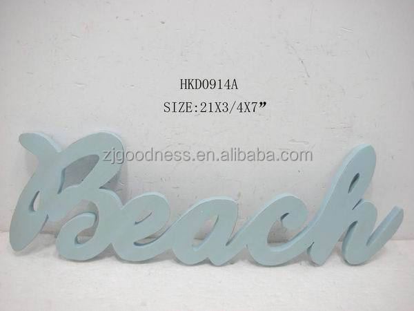 Wood Beach Painted Decorated Wall Sign