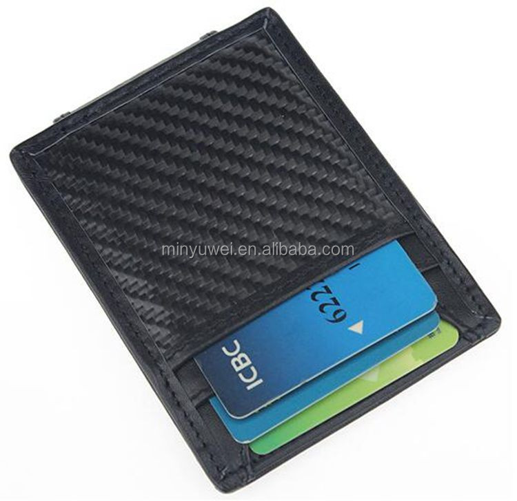 Custom RFID Blocking Carbon Fiber Leather Money Clip  with  Strong Magnetic