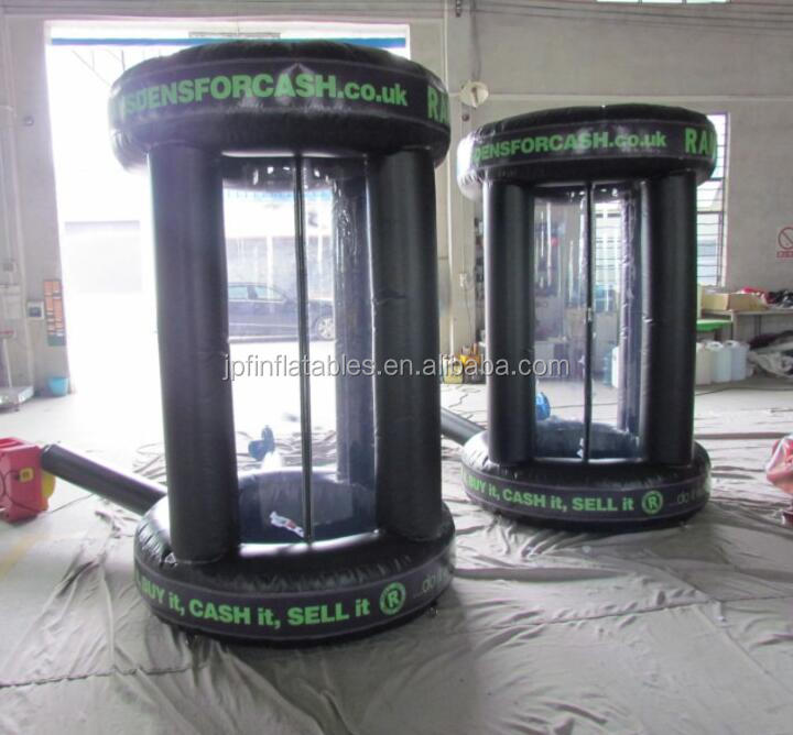 Black color Inflatable money cash box , cash cube for event, money grabbing game