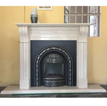 Natural Carrara white marble fireplace