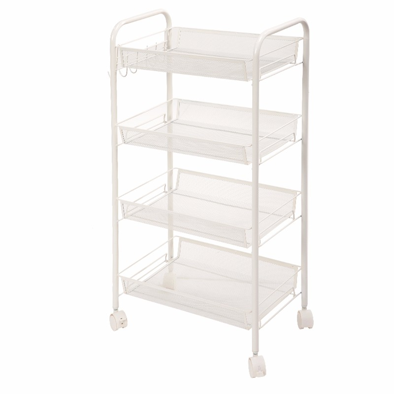 XM_405A mesh fruit vegetable shelf metal powder coated square kitchen storage cart with basket kitchen wire shelving