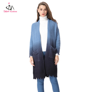 Ladies Light to Dark Blue Tie Dye Trench Coat Wholesale Stylish Kimono Knitted Women Long Cardigan