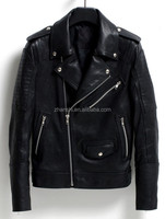 Korean Style Latest Design Men's Fashion Black Motorcycle Leather Jacket