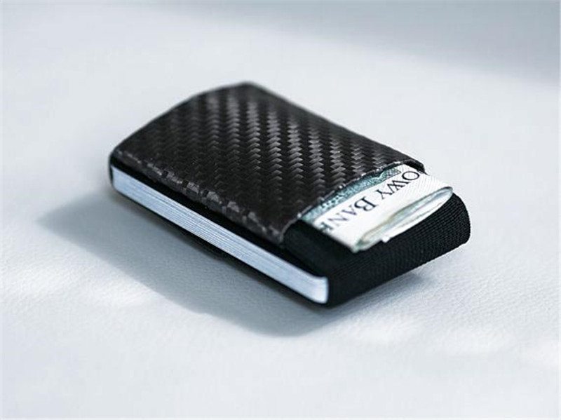 minimalist carbon fiber leather wallet slim elastic wallet custom elastic credit card holder