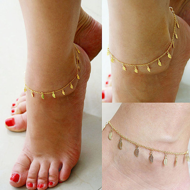 Beach Summer Style Gold Leaves Pendant Chains Anklets Ankle Foot Jewelry Barefoot  Foot Accessories