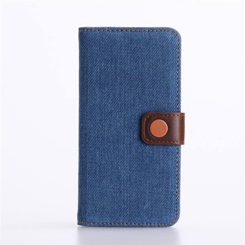 PU Leather and Jean Cloth Wallet Flip Cover For IPhone 7
