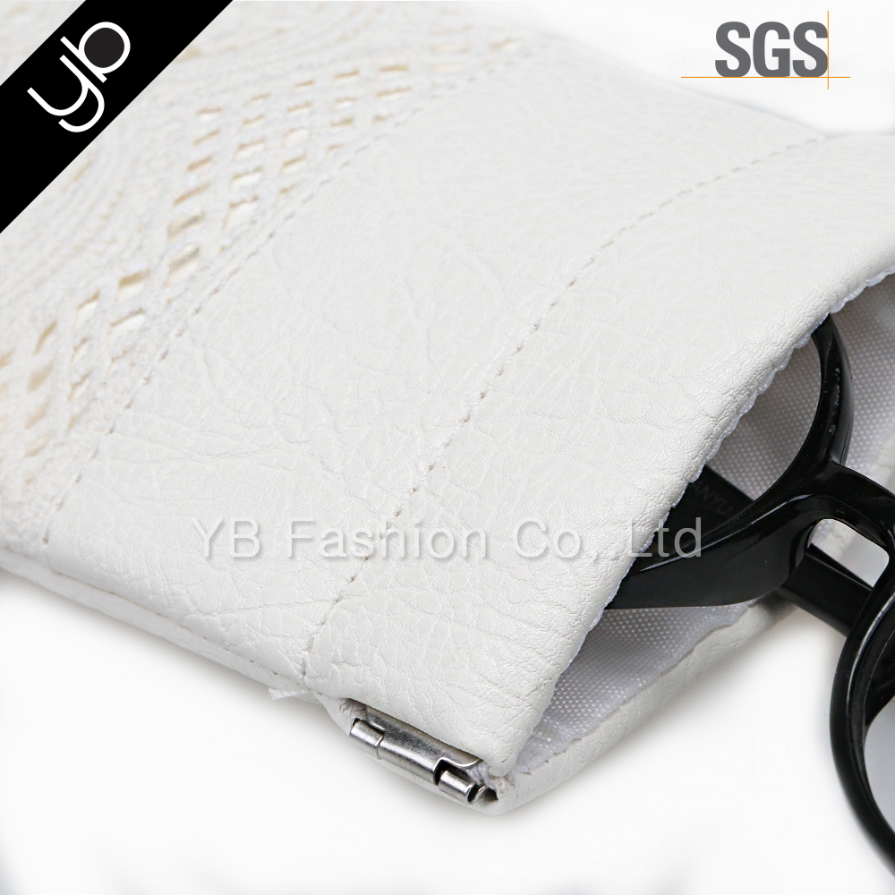 Fshionable crochet lace mixed PU custom sunglass pouch case for glass phone