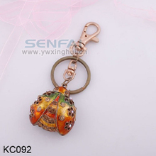 Ladybird promotional gifts items animal key chain, custom ladybug zinc alloy metal keychain