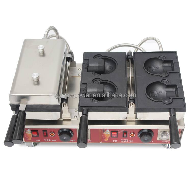 commercial kitchen equipment bear shape waffle maker with waffle bear ice cream machine and mini bear waffle making machine