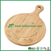 Round Wood Bamboo Pizza Cutting Board with Handle