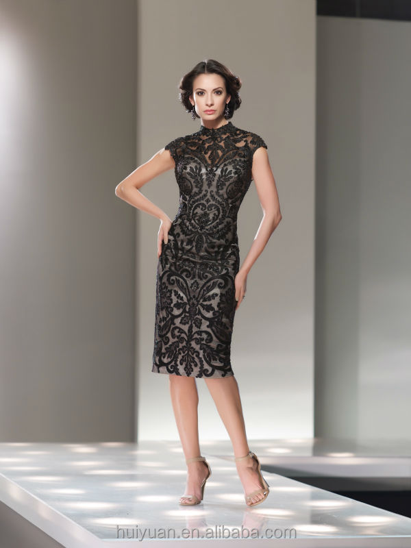 high neck black lace cap sleeve woman office evening dress