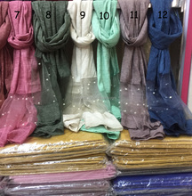 New arrival arabe islam beautiful femme hot stylish prayer shawl scarfs large tie dye color polyester blend cotton pearl hijabs