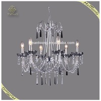 Chrome Plated Crystal Candle Chandelier Pendant Light for Hotel, Luxury Crystal Pendant Light
