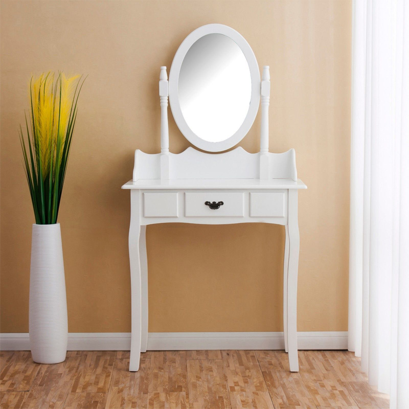 Solid wood modern mirrored vanity table