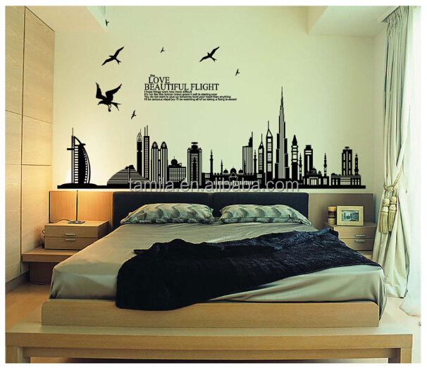 New Arrival Black Wall Art City Sketch Sticker