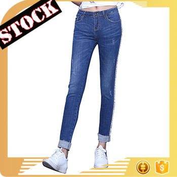 J3226#2017 Stock New fashionable cotton long fitting broken jeans for women
