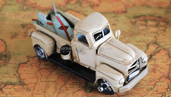 Handmade antique metal truck model for home decorations