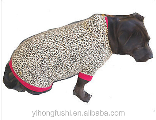 Large Dog Hoodie Designer Leopard Print- Big Coat Jacket Clothes Pet Staff