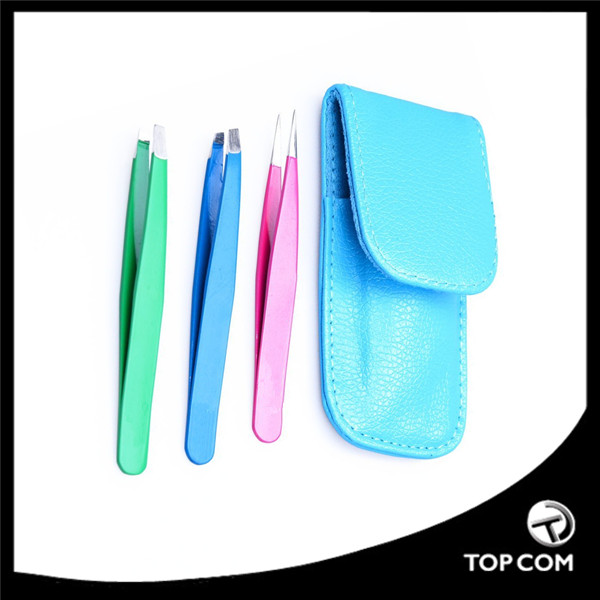 3 Piece Premium Stainless Steel Tweezer Set - Leather Travel Case