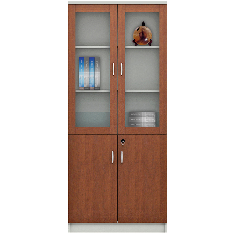 Modern popular new design wood bookcase with glass doors