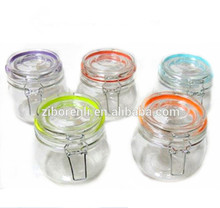 500ML Metal Clip Airtight Lid Clear Glass Herb Storage Jars Color Mixing