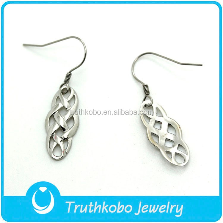 TKB-JE0089 Irish vintage jewelry silver celtic weave knot 316L stainless steel drop earrings for women