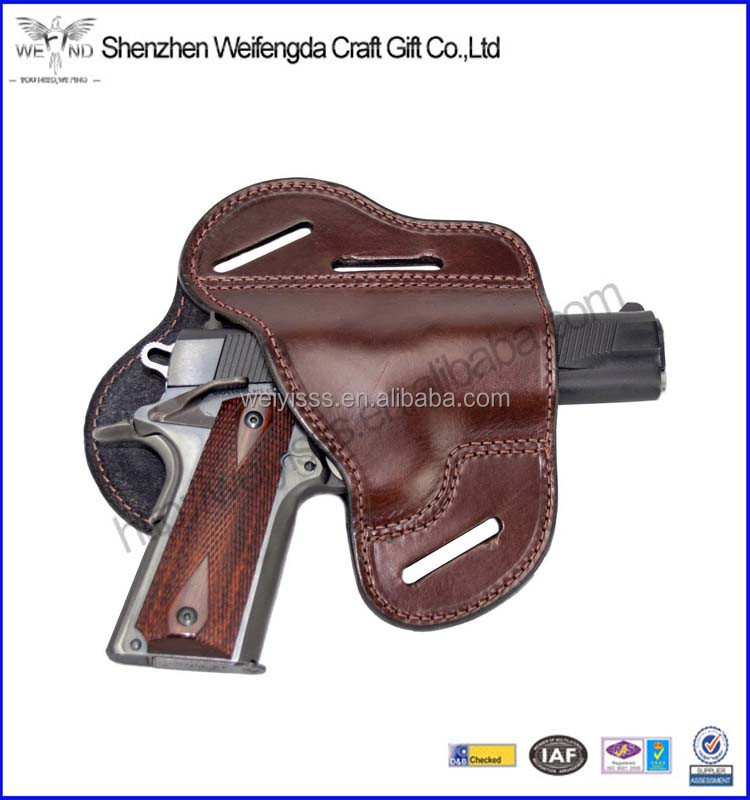 Handmade brown leather gun holder for hunting