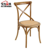 Cane seat brown color X back chair for resturant use cross back wooden chair