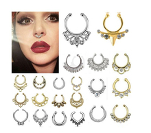 Unique Attractive Design Body Jewelry Gold Plated 316L Steel Non Piercing Septum Nose Ring