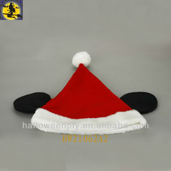Cute Red Mickey Santa Hat with two Brown Ears