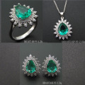Fashion Pear Shape Sets with Green Spinel Engagement Jewelry DR01407194S-PS-G