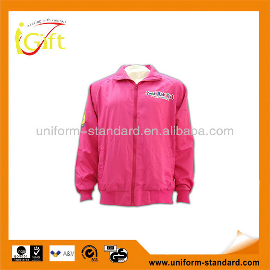 China OEM hot sale New arrival school girls sweet pink color windbreaker