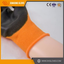 Xinhong new design dots printed polyester pu coated gloves
