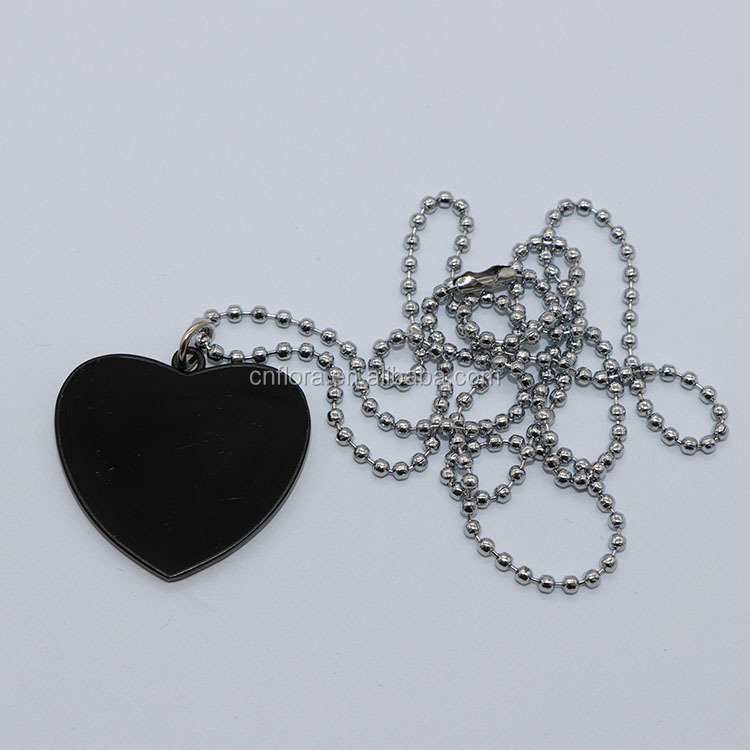 Promotional Cute Heart Shape Black Dog Necklace Printing Tag Luggage Tag