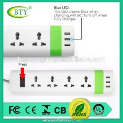 High Quality Residential Usage 4 Outlet 3 Port USB Socket Extension Socket for Sale