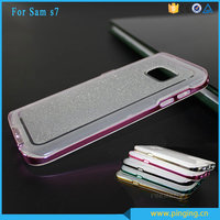Flash powder tpu electroplate pc bumper glitter case for samsung galaxy s7 back ccover