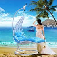 Swimming Pool Leisure Hanging Cheap PE Rattan Swing Chair Under Sun Cover for Sleeping
