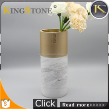 Kingstone Decoration Metal Volakas Marble Stone Tall Flower Vase