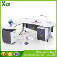new design white l-shape office table standard size modern office desk