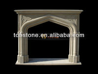 hand carved natural limestone fireplace mantel for interior decoration