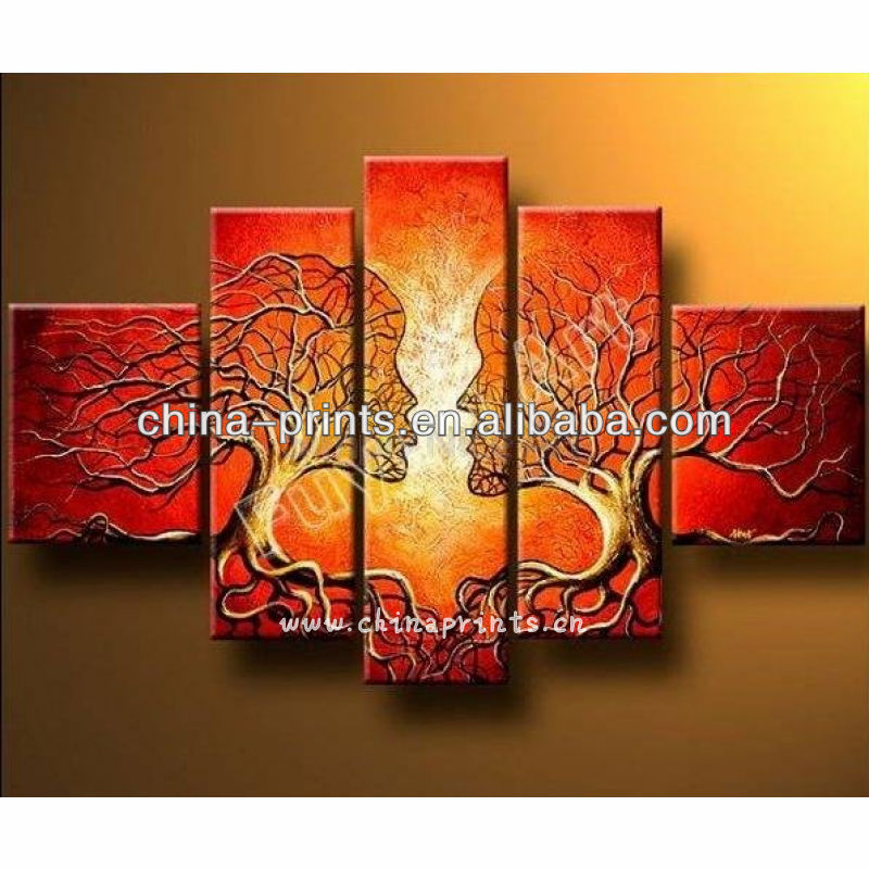 Newest Multi Panels Abstract Kiss Diy Wall Oil Painting