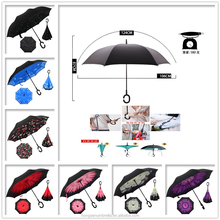 2016 Newly-developped Anti-wet print design Reversed Open easy taken C handle 190T pongee Material Umbrella inverted umbrella