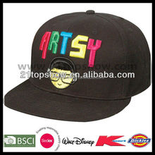Embroidered black cheap wholesale custom flat peaked caps
