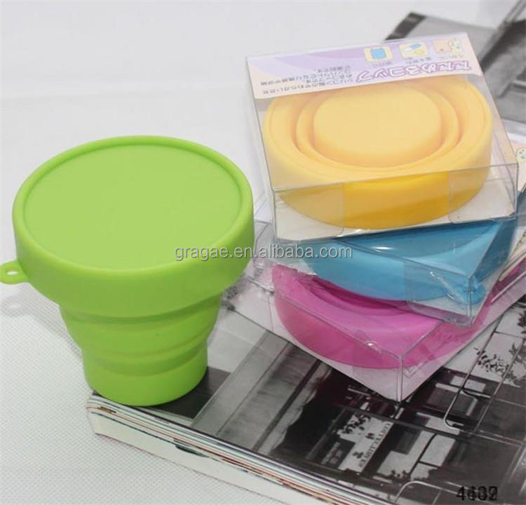 Promotional plastic drinking cup silicone folding cup collapsible cup