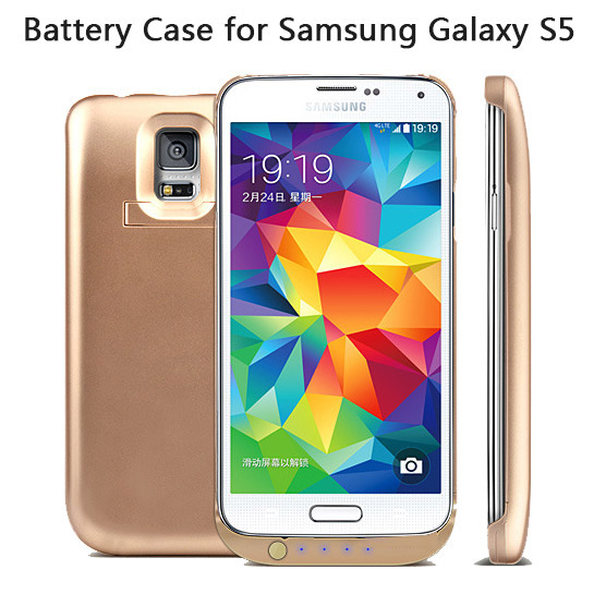 6500mah black battery back cover case for samsung galaxy s5