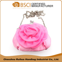Beautiful pink rose girls evening purse bag small clutch coin purse
