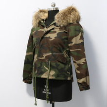 Modern Popular Women Cold Winter Short Raccoon Fur Parka Jacket